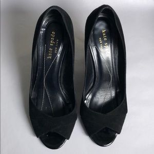 Kate Spade black suede wedges size 6